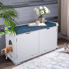 Cat Litter Box Furniture Hidden House Wood Storage Bench Enclosure Cabinet