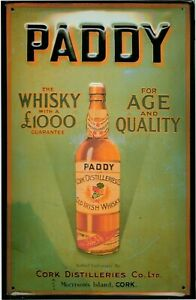 Paddy Whiskey embossed steel sign 300mm x 200mm (hi)