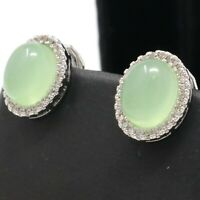 Authentic Jade Diamond Earrings 925 Sterling Silver Women Wedding  Jewelry Gift