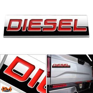 """DIESEL"" Polished Metal 3D Decal Red Emblem For Chevrolet/Mercedes/GMC/Ford"