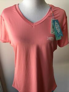 NEW American Fishing Tackle Co Women's Large Pink AFTCO Short Sleeve T Shirt