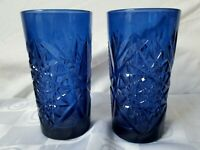 Libbey Glass Sapphire Blue 16 oz. Hobstar Tumblers Water Glasses Set of 2