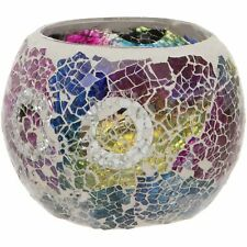 MULTI COLOURED CRACKLED GLASS MOSAIC CANDLE TEALIGHT HOLDER HOME DECOR