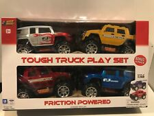4 Vehicles Tough Truck Play Set 4 Friction-Powered 1:32 Scale Fj Cruiser Hummer