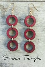 WOOD TIMBER TIERED HOOPS CONTEMPORARY BESPOKE HANDMADE LIGHTWEIGHT EARRINGS