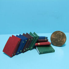 Dollhouse Miniature 12 Book Set with Leather Like Covers and Blank Pages IM65772