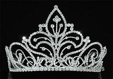 "Vintage Style Pageant Tall 5"" Tiara Full Circle Round Crystal Crown AT1726"