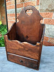 Primitive Wood Wall Box with Drawer Folk Art Candle Box Rustic