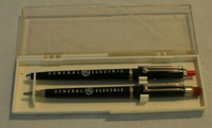 Vintage General Electric~GE~company Pen set~w/ case~Mechanical Pencil~Ballpoint