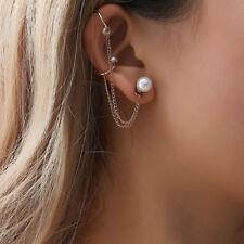 KQ_ 1Pc Women Fashion Jewelry Gift Pearl Chain Ear Cuff Clip On Stud Earring Uti