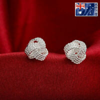 New 925 Sterling Silver Filled 10MM Knot Stud Earrings Vintage OZ Free Shipping