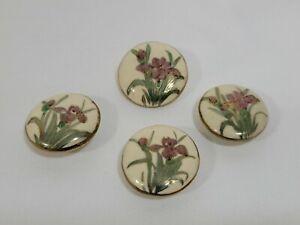 "Set of 4 Hand Painted Satsuma Ceramic Button Purple Iris w/ Gold Accents 3/4"""