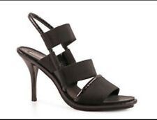 Balenciaga Sling Back Black Heels Elastic Band Sandals Python Trim EU 39 Uk 6