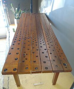 Up-cycled Reclaimed Vintage Antique Pipe Organ Windchest Long table - LOWERED