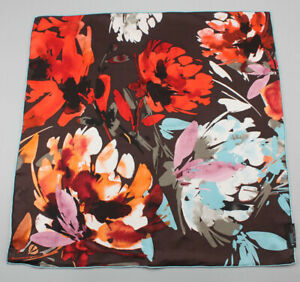 PURE SILK Square Scarf Head Neck Hair Wrap Ponytail Floral Bandana Blue Brown