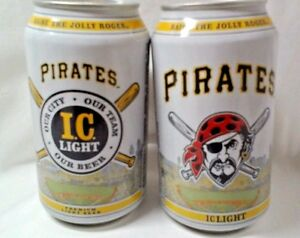 2 MLB Pittsburgh Pirates Iron Beer Can Bottom Opened Jolly Roger 2015