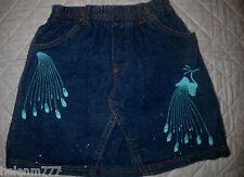 Girls 3 - 4 Blue Denim Skirt Aqua Blue Peacock Stitch Panel Insert Glitter Denim