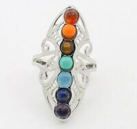 R460E Ring versilbert mit mehreren Halbedelsteinen größenverstellbar