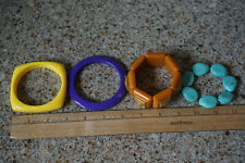 Womens Bracelets Lot - Vintage Bangles 80s Style Plastic Square Stretchy Yellow