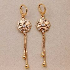 "Bohemia 2.6"" Earrings Hollow Carved Flower Zircon Topaz Tassel Women Party Gift"