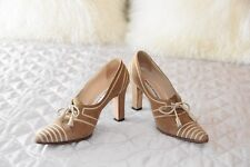 MANOLO BLAHNIK Camel Suede Lace Up Oxford Pumps Size 6