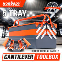 5-Tray Steel Cantilever Tool Storage Box Portable Parts Organiser Carry Holder