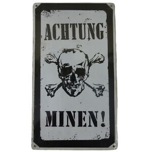 Achtung Minen Vintage Metal Sign - 8W x 14H in. H921