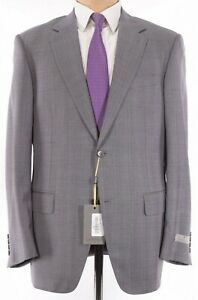 Canali NWT Suit Size 44R In Gray With Purple & Orange Plaid Wool $1,995