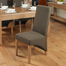 Baumhaus Oak Full Back Upholstered Dining Chair - Hazelnut (Pair) - Solid Wood