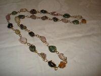 true Vintage - Kette / Halskette - Edelsteine raffiniert in Silberdraht gefasst
