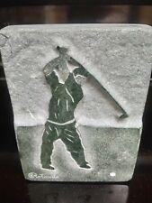 Moving Sale Le Golfeur Raffaele Rotondo Quebec Marble Golf Carving Plaque
