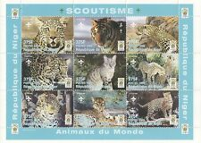 SCOUT animali dell' WILD CAT FELINE Tigre Leopardo 1998 MNH STAMP SHEETLET