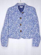 Charter Club Small Jacket Blazer Denim Garden Farmers Market White Blue Floral
