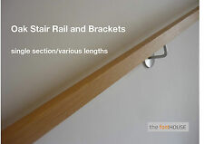 Modern SQUARE SOLID OAK Handrail with Stainless Steel Brackets - FREE DELIVERY