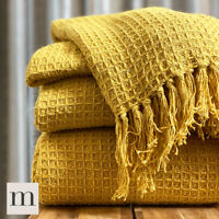 Pure Cotton Large Ochre Yellow Mustard Waffle Check Bed Sofa Throw Blanket