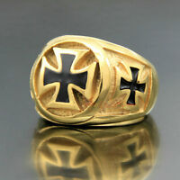 Gold 316L Stainless Steel Masonic Black Knights Templar Iron Cross Men's Ring