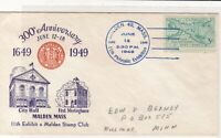 U. States 1949 300th Anniversary Malden Mass Illust & Cancel Stamp Cover Rf37540