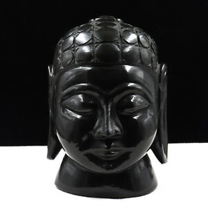 NATURAL BLACK JADE BUDDHA HEAD 8645 CTS GEMSTONE STATUE FOR HOME DECOR
