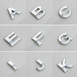 0-9 A-Z  Alphabet Letters Car Sticker Self Adhesive Auto Badge Emblem 3D Chrome