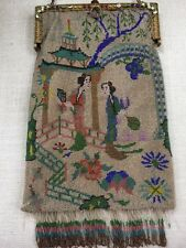 Antique MICRO Beaded Purse Handbag Chinoiserie Figures JEWELED ENAMEL Frame RARE