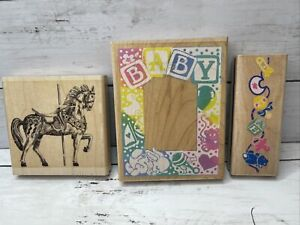 Baby Stamp Lot Carousel Horse Baby Frame Wood Mounted Rubber Stamp Impressions