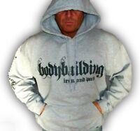 MENS COTTON BODYBUILDING CLOTHING HOODIE WORKOUT GREY IRON & PAIN LOGO GYM