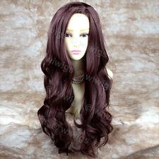 Wiwigs Fabulous Dark Auburn Long Wavy Layered Skin Top Ladies Wig