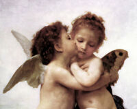 CHENPAT661 100% hand painted two nude little angels oil painting art on canvas