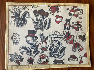 ORIGINAL VINTAGE HAND PAINTED TATTOO FLASH SHEET, DOUBLE SIDED