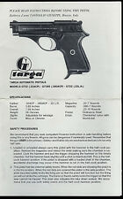 Targa Model GT32ACP GT380ACP GT22LR Cal Semi Auto Pistol Factory Owner's Manual