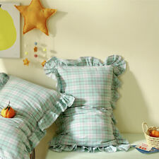 2PCS Washed Cotton Falbala Pillowcase Checked Pillow Cover Bedding Accessory New