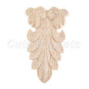 Unpainted Woodcarving Corner Onlay Applique Decal Frame Furniture Home Decor 1pc