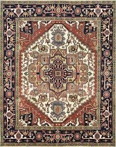 Tribal Heriz Serapi Rug, 8'x10', Ivory, Blue, Hand-Knotted Wool Pile