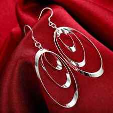 Fashion 925Sterling Solid Silver Jewelry 3Circle Dangle Earrings For Women E180